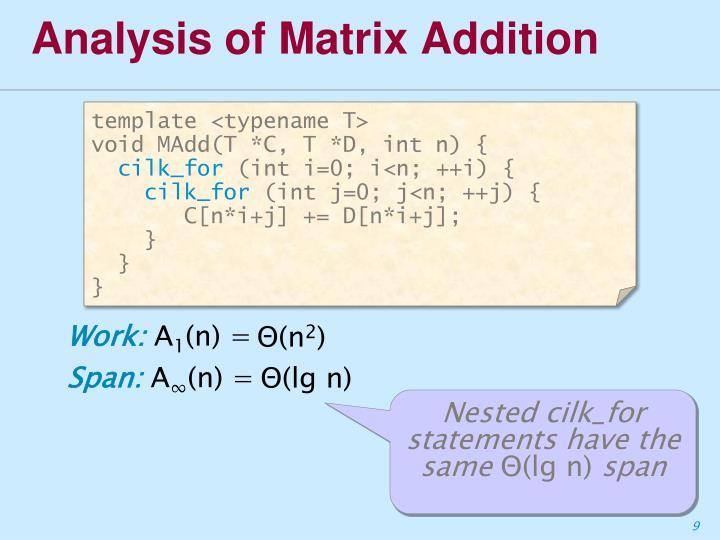 Analysis of Matrix Addition