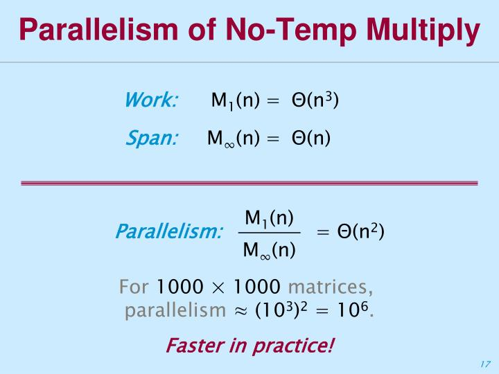 Parallelism of No-Temp Multiply