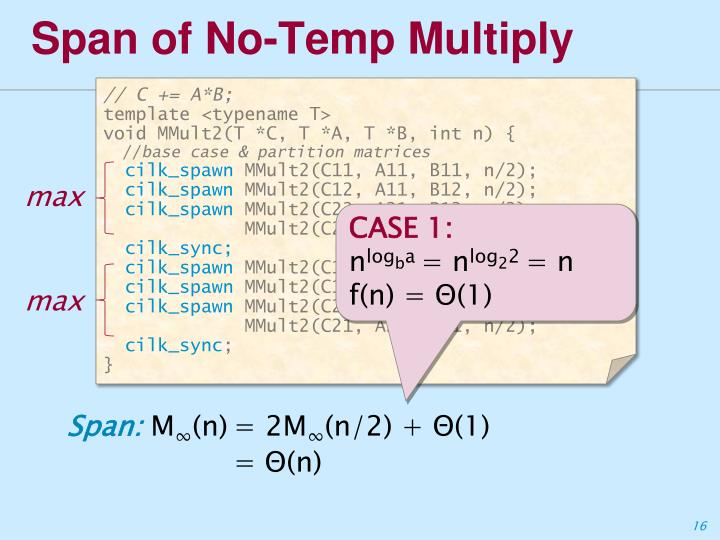 Span of No-Temp Multiply