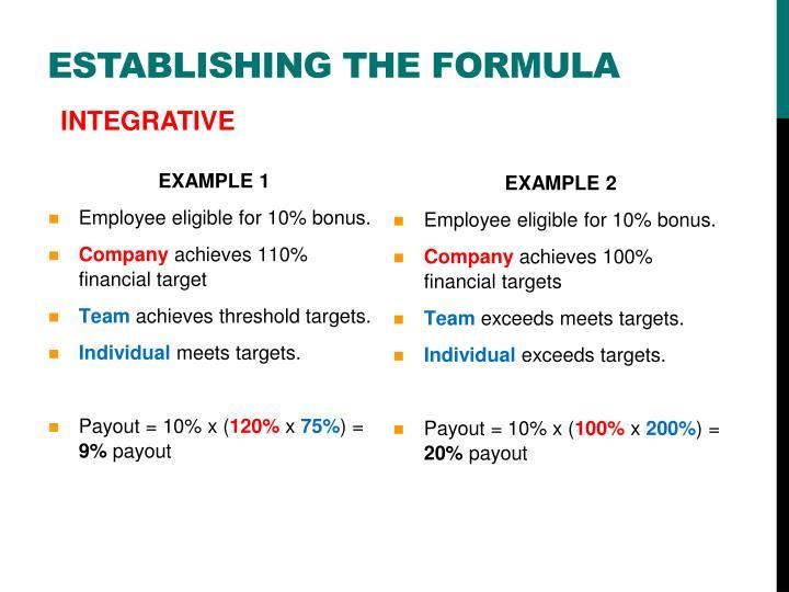 Establishing the formula