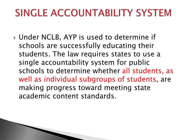 SINGLE ACCOUNTABILITY SYSTEM