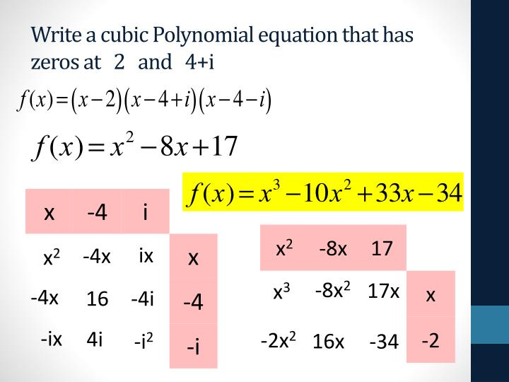 Write a cubic Polynomial equation that has zeros at   2   and   4+i