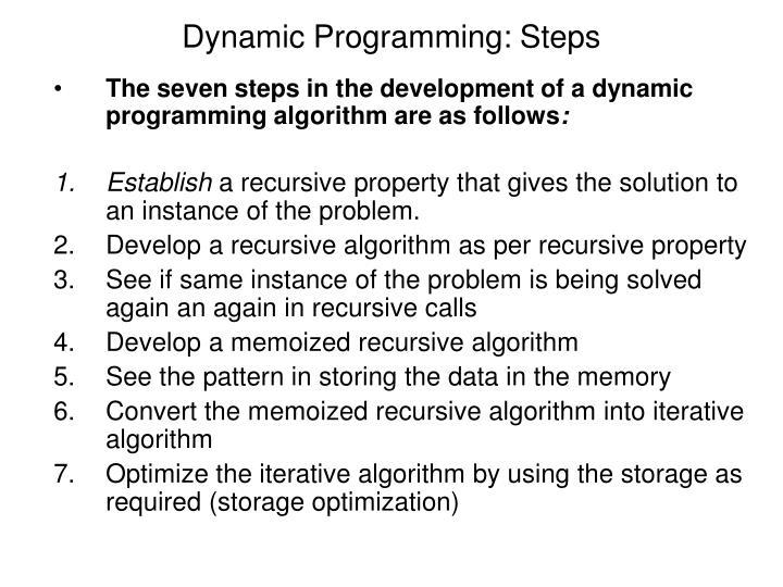 Dynamic Programming: Steps