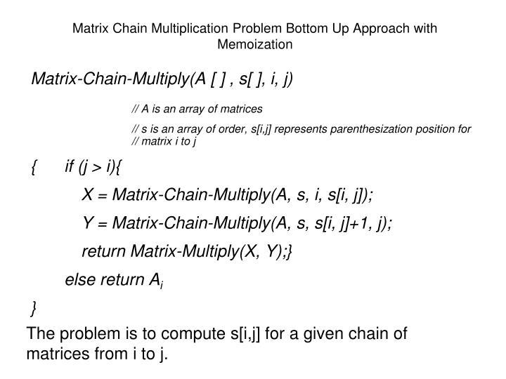 Matrix Chain Multiplication Problem Bottom Up Approach with Memoization