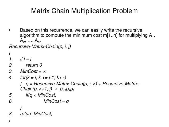 Matrix Chain Multiplication Problem