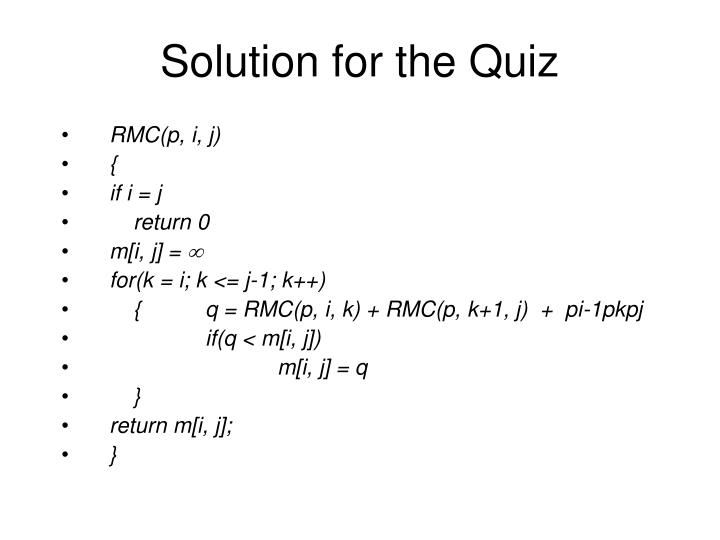 Solution for the Quiz