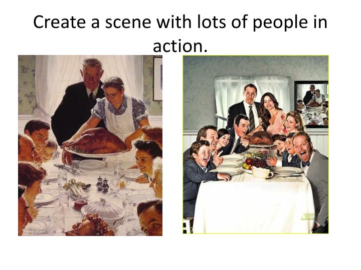 Create a scene with lots of people in action.