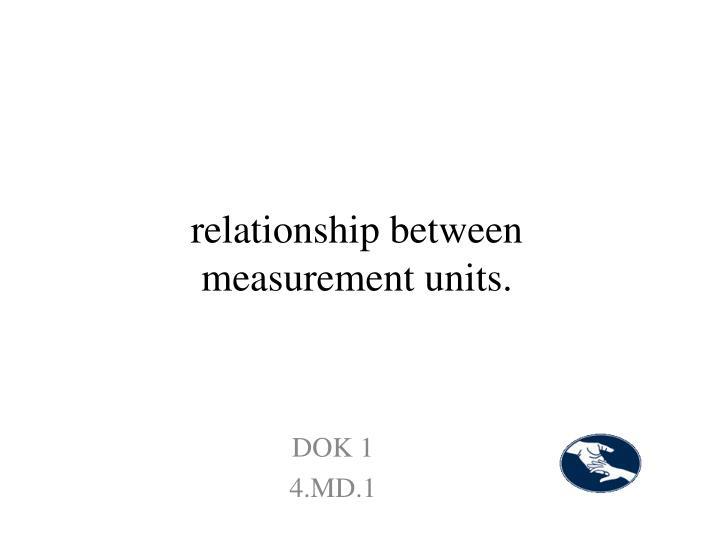 relationship between measurement units.