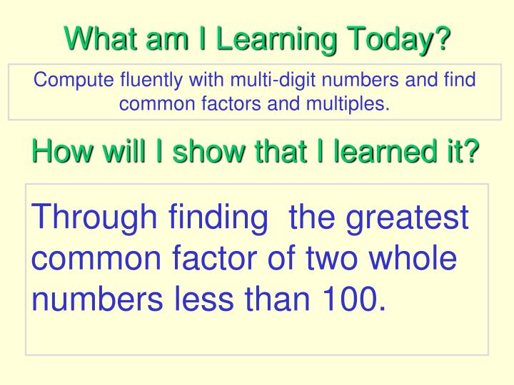 What am I Learning Today?