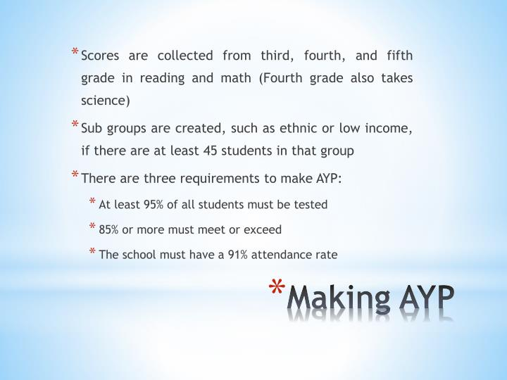 Scores are collected from third, fourth, and fifth grade in reading and math (Fourth grade also takes science)
