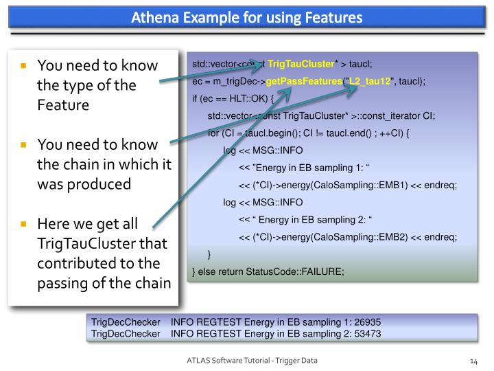 Athena Example for using Features