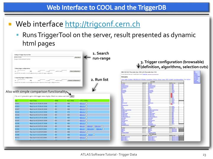 Web Interface to COOL and the TriggerDB