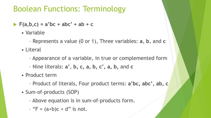 Boolean Functions: Terminology