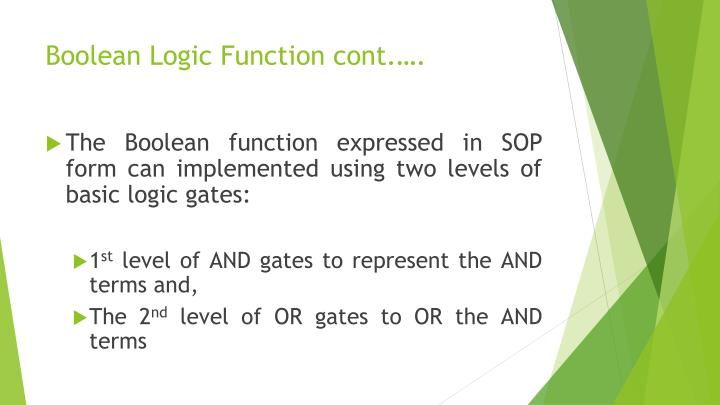 Boolean Logic Function cont.….