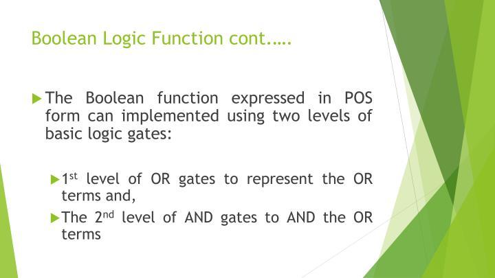 Boolean Logic Function cont.….