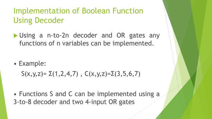 Implementation of Boolean Function Using Decoder