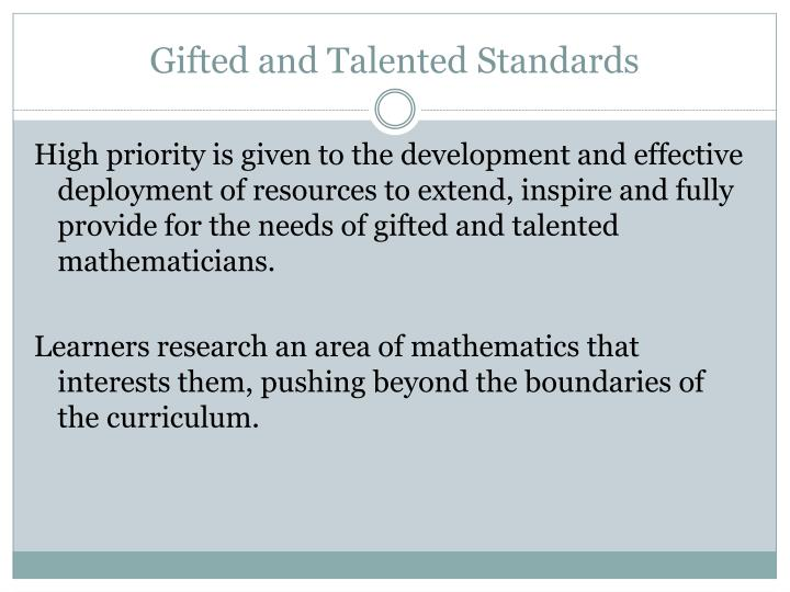 Gifted and Talented Standards