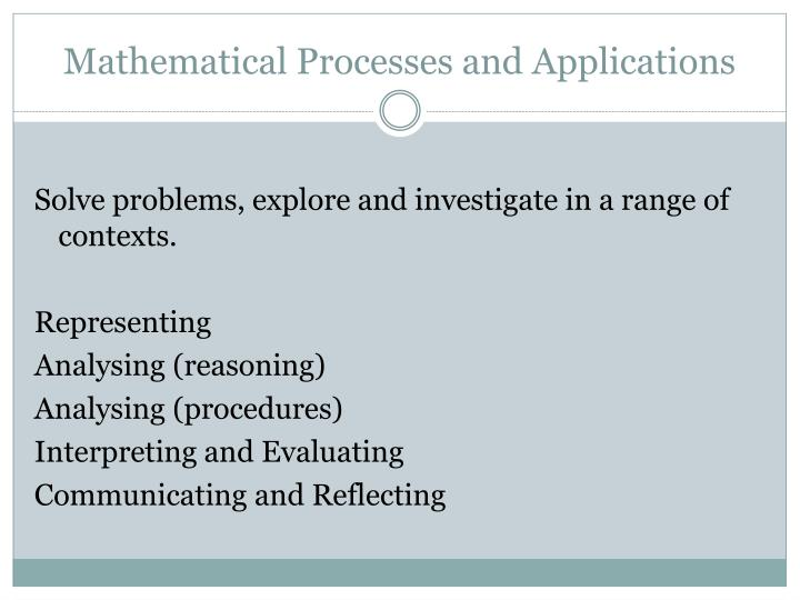 Mathematical Processes and Applications