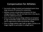 compensation for athletes