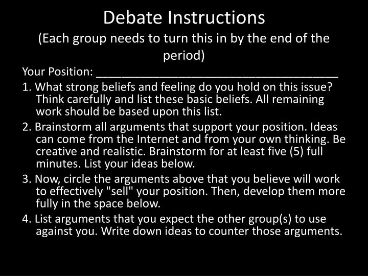 Debate Instructions