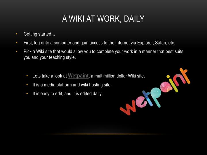 A wiki at work, daily
