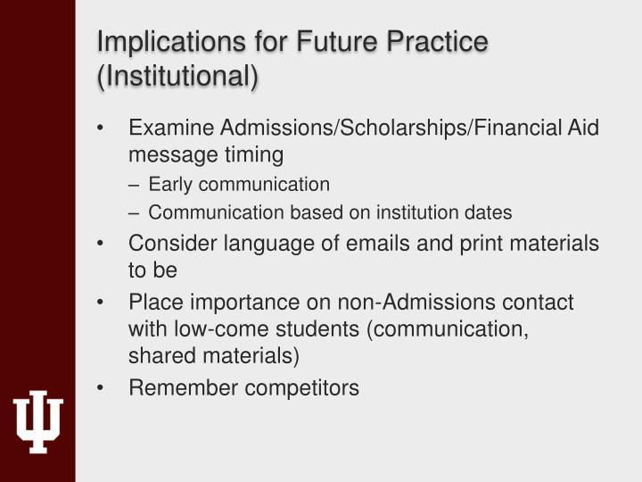 Implications for Future Practice (Institutional)