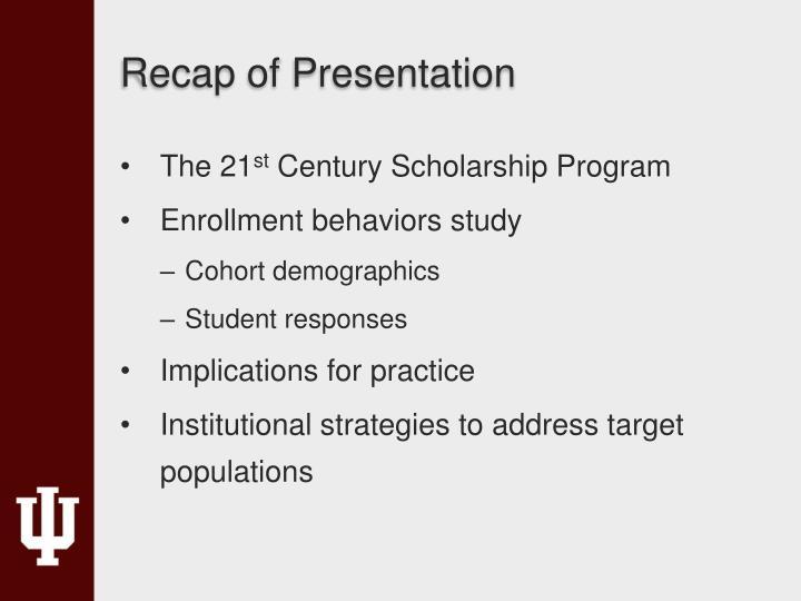Recap of Presentation
