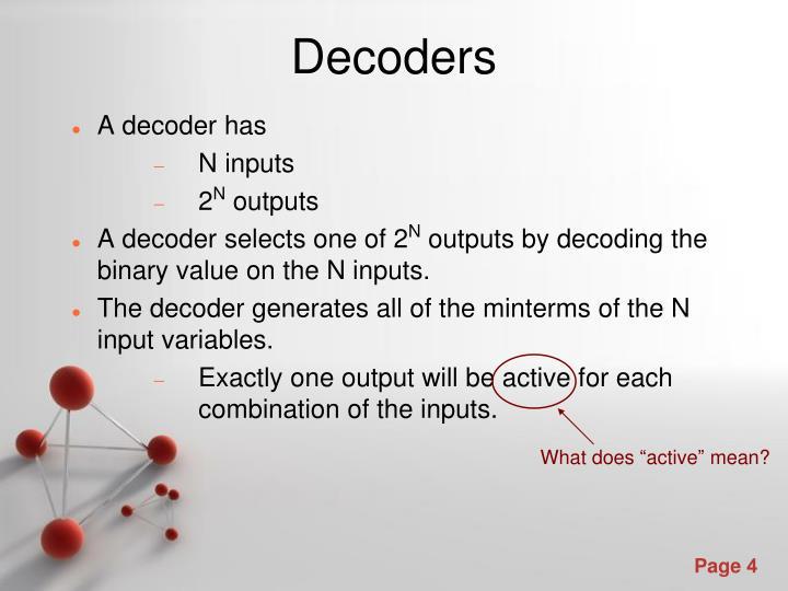 A decoder has