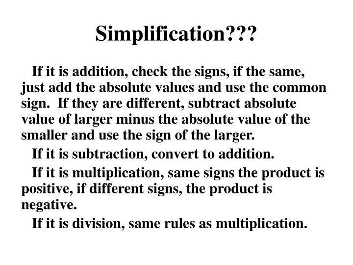 Simplification???