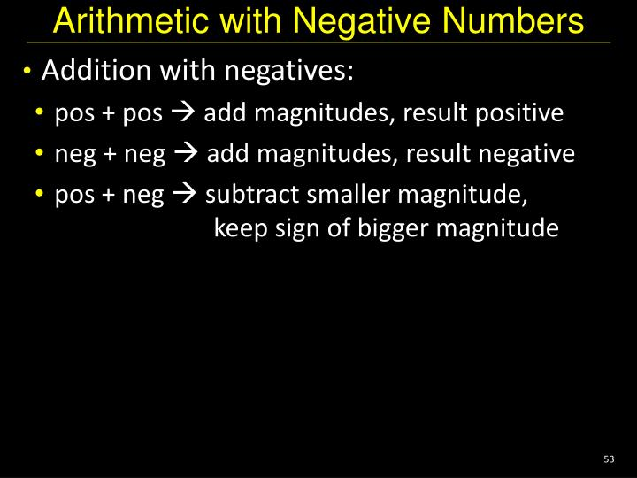 Arithmetic with Negative Numbers
