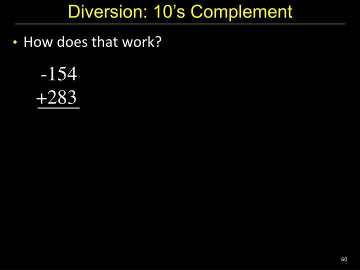 Diversion: 10's Complement