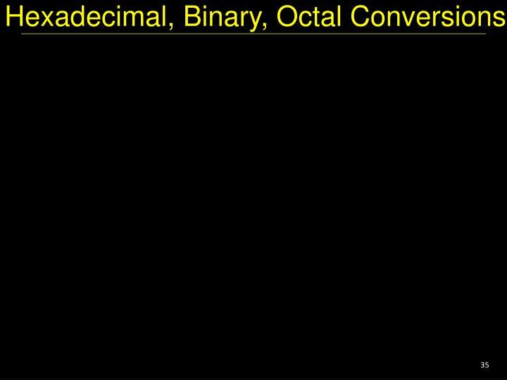 Hexadecimal, Binary, Octal Conversions