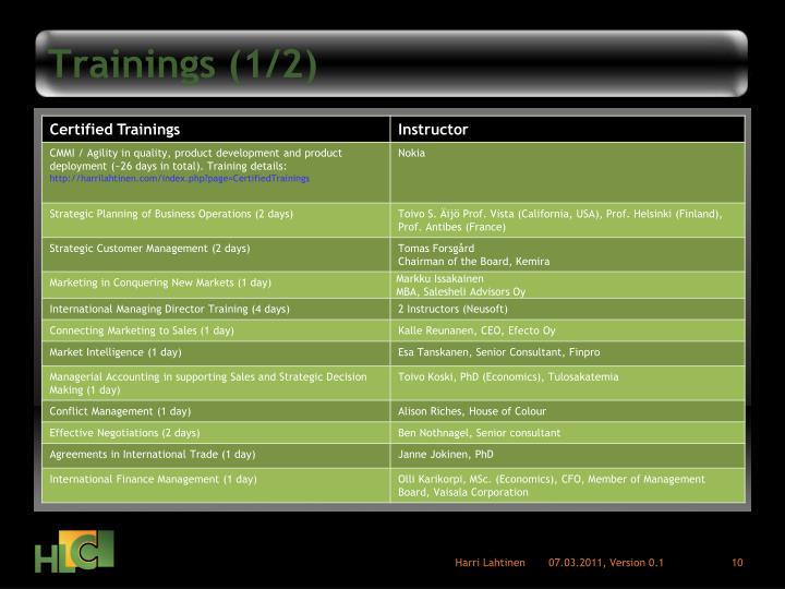 Trainings (1/2)