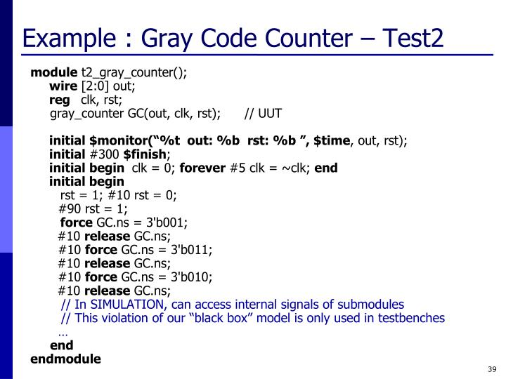 Example : Gray Code Counter – Test2