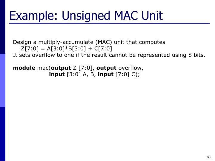 Example: Unsigned MAC Unit