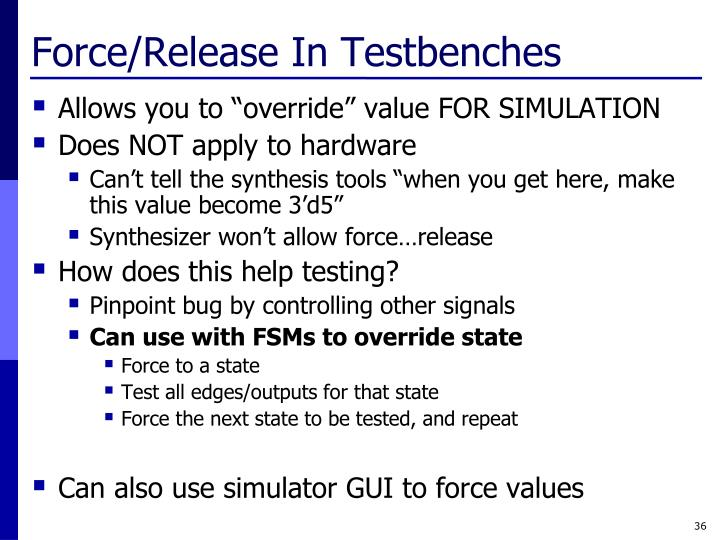 Force/Release In Testbenches