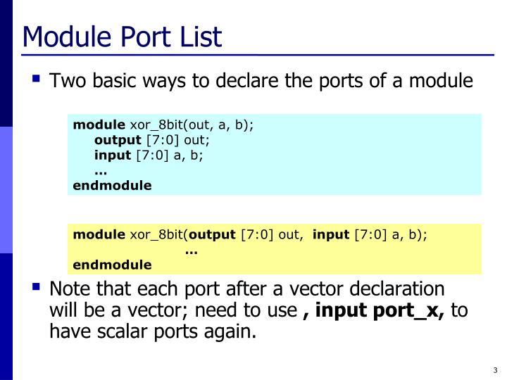 Module Port List