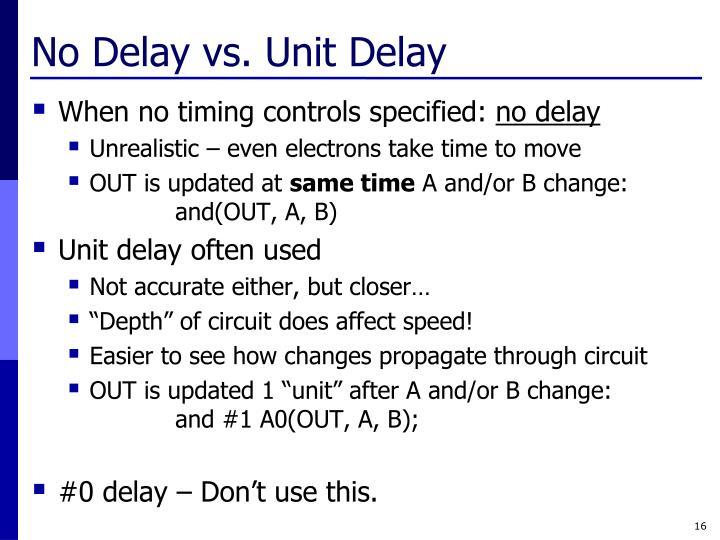 No Delay vs. Unit Delay