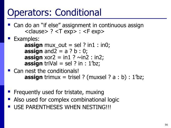 Operators: Conditional