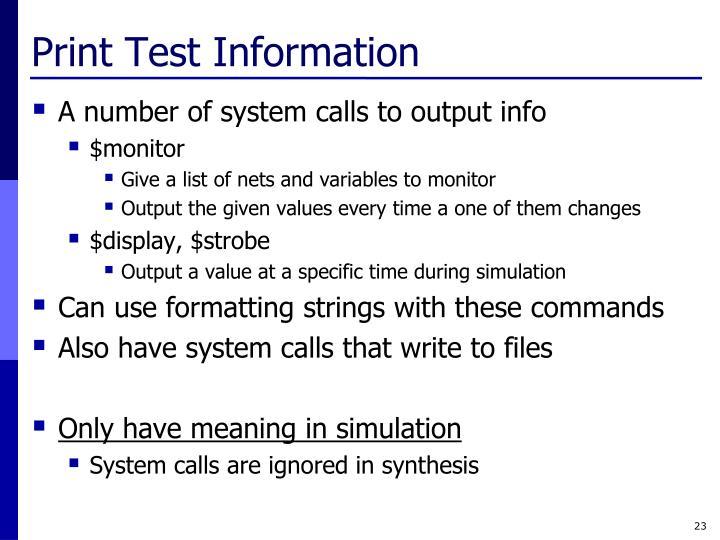 Print Test Information