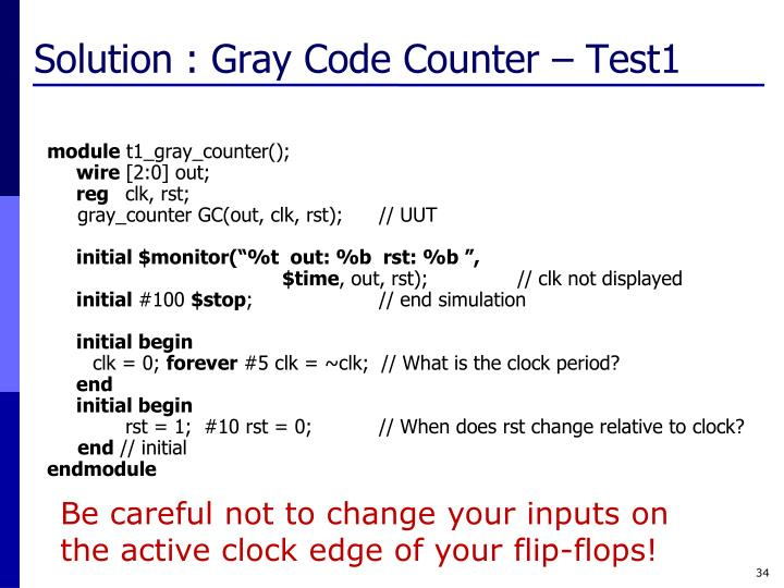 Solution : Gray Code Counter – Test1