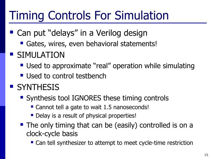 Timing Controls For Simulation