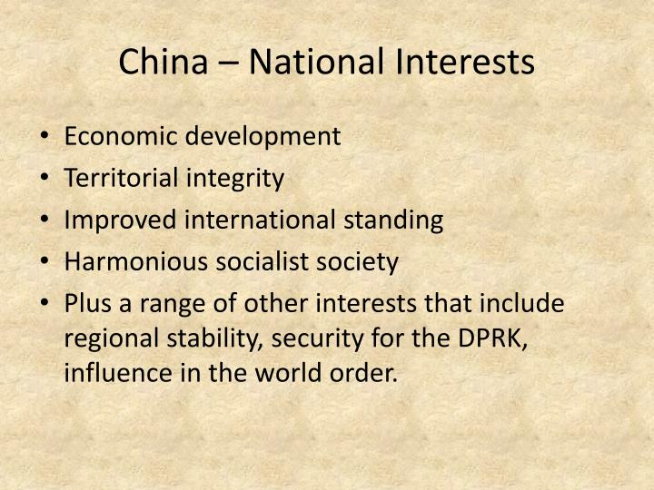 China – National Interests
