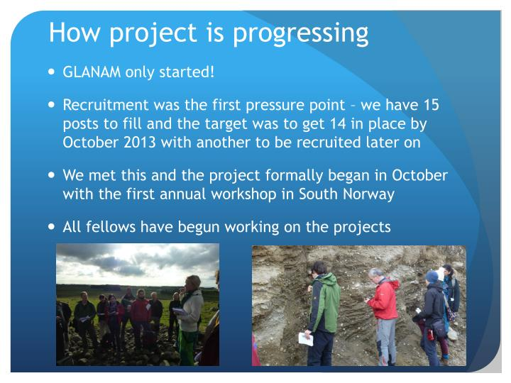 How project is progressing