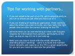 tips for working with partners