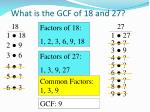 what is the gcf of 18 and 27