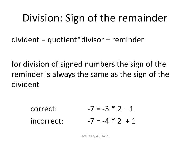 Division: Sign of the remainder