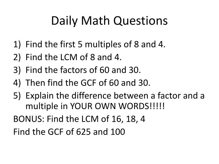 Daily Math Questions