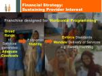 financial strategy sustaining provider interest