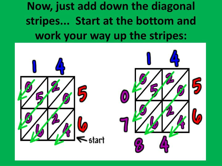 Now, just add down the diagonal stripes... Start at the bottom and work your way up the stripes: